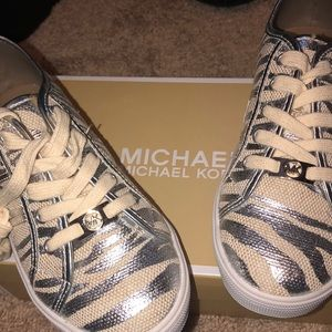 Micheal Kors Tiger strip tennis shoes Silver